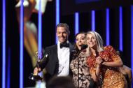 """Co-Winners for Choreography at Emmys Arts is Derek Hough, Julianne Hough, Tessandra Chavez #DWTS"" - Emmy Awards - September 12, 2015 Courtesy televisionacad twitter"